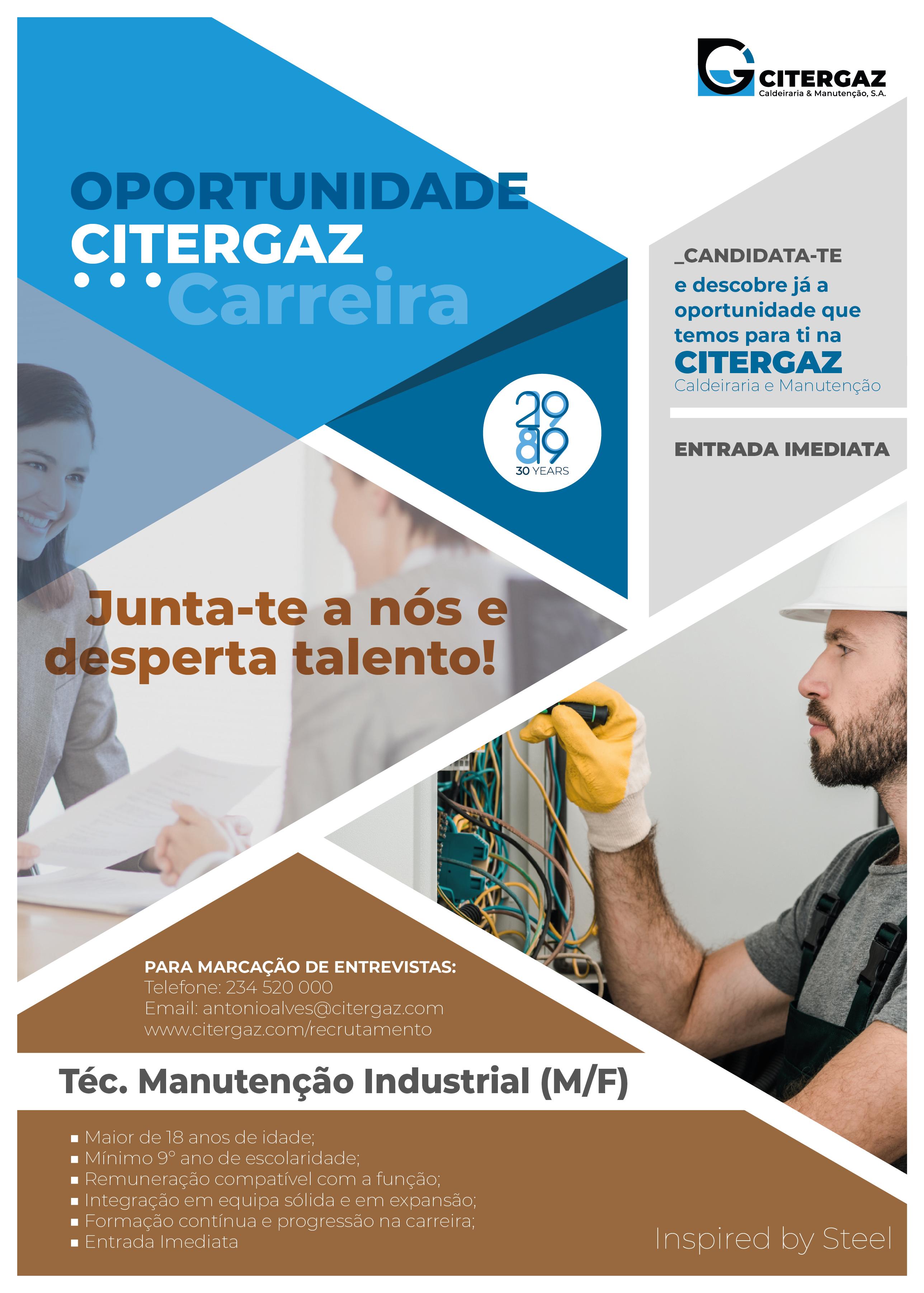 Técnico de Manutenção Industrial (M/F)